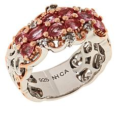 Gems by Michael Sterling Silver Lotus Pink Sapphire & Zircon Band Ring
