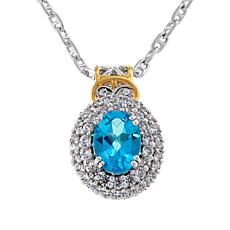 Gems by Michael Sterling Silver Paraiba-Color Topaz and Zircon Pendant