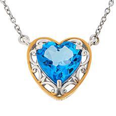 Gems by Michael Sterling Silver Swiss Blue Topaz Heart Necklace