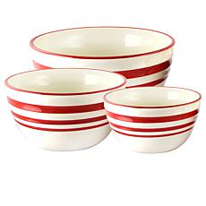 General Store Hollydale Stoneware Nesting Bowl Set in Linen/Red, Se...