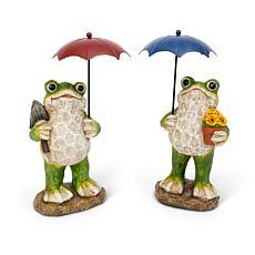 "Gerson 10.6""H Resin Frog Figurines Holding Metal Umbrellas Set of 2"