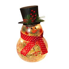 "Gerson 10""H Electric Lighted Crackle Glass Snowman with Metal Top Hat"