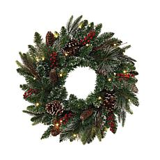 "Gerson 24"" LED Lighted Frosted Wreath with Berries, Twigs & Pinecones"