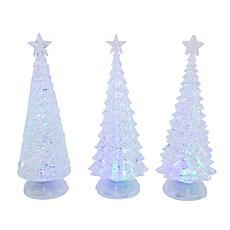 Gerson Assorted Set of 3 Battery-Operated Spinning Water Globe Trees