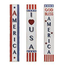 Gerson Assorted Wooden Americana Home Décor 3-pack