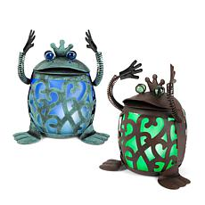 "Gerson Company 11.7"" Solar Lighted Garden Meadow Roly Poly Frog 2-pack"