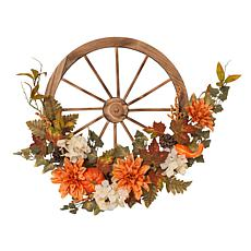 """Gerson Company 27"""" Fir Wood Wagon Wheel with Harvest Floral Accents"""