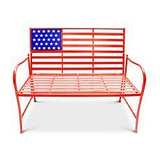 """Gerson Company 41.5""""L Metal Patriotic Bench"""