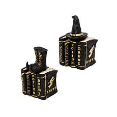 """Gerson Company 8""""H Resin Black and Gold Spooky Books 2-pack"""