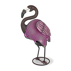 Gerson Company Rustic Solar Lighted Garden Meadow Flamingo