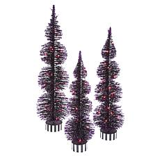 Gerson Company Set of 3 Purple Lighted Bottle Brush Trees