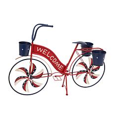 Gerson Metal Bicycle with Spinning Spokes and Planters