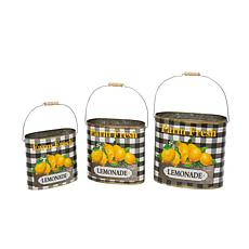 "Gerson Metal Nesting ""Farm Fresh Lemonade"" Decorative Buckets 3-pack"