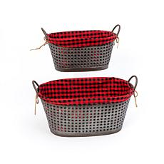 Gerson Nesting Oval Galvanized Metal Holiday Baskets Set of 2