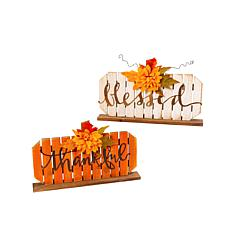 Gerson Set of 2 Assorted Wood Tabletop Pumpkin Decorations