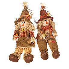 Gerson Set of 2 Harvest Scarecrow Figurines