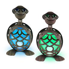 Gerson Set of 2 Solar-Powered Metal Turtle Figurines
