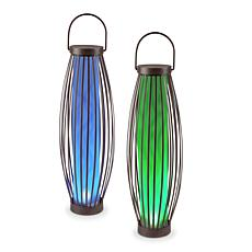 Gerson Solar-Powered Metal Barrel Lights with Handles 2-pack
