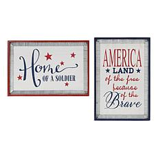 Gerson Wood Patriotic Wall Hanging with Metal Accents 2-pack