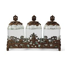 GG Collection 3-Piece Glass Canister Set with Acanthus Leaf Metal Base