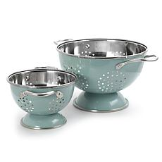 Gibson Coffee House 2pc Colander and  Strainer Set in Sky Blue