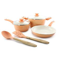 Gibson Coffee House Plaza Cafe 7-piece Cookware Set in Coral