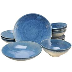 Gibson Elite 12 Piece Ombré Blue Double Bowl Dinnerware Set