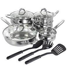 Gibson Home Ancona 12-Pc Belly-Shaped Cookware Set w/Kitchen Tools