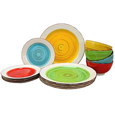 Gibson Home Confetti Band 12-piece Mix & Match Dinnerware Set