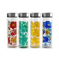 Gibson Home Glasselle 4 Piece 13 Ounce Glass Decorated Hydration Bo...