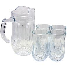 Gibson Home Glowing Ambers  5-piece Glass Pitcher Set