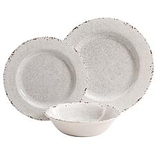 Gibson Home Meilee Melamine 12-piece Dinnerware Set in Ice Crackle