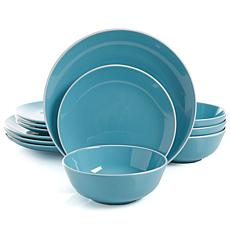 Gibson Home Paramount Heights 12-piece Dinnerware Set in Blue