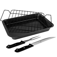 Gibson Home Reilly 4-Piece Non-Stick Carbon Steel Roaster Set