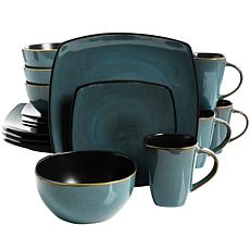Gibson Home Soho Lounge Teal Green 16-piece Soft Square Dinnerware Set