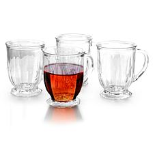Gibson Home Triumph Set of 4 Footed Glass Mugs