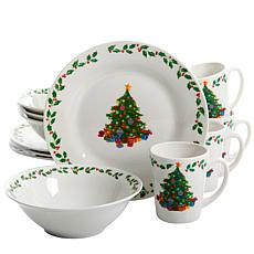 Gibson Joyous Gathering Decorated 12 Piece Dinnerware Set