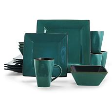 Gibson Overseas Kiesling 16-Piece Dinnerware Set in Blue/Black