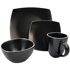 Gibson Soho Lounge Matte 16pc Dinnerware Set - Black