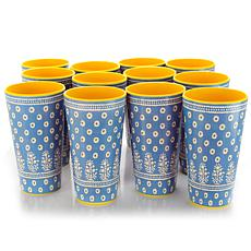 Gibson Zoey 20 oz Tumbler Aqua Decorated Melamine set of 12