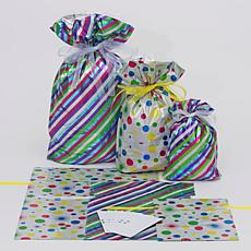 Giftmate 12-Piece Drawstring Stripes and Dots Gift Bag Set