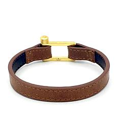 Giorgio Milano Men's Goldtone Brown Leather Bracelet