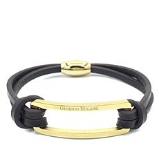 Giorgio Milano Men's Negative Space Leather Bracelet