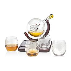 Godinger Whiskey Decanter Globe with 4 Whiskey Glasses