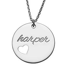 0819e62bebead Gold Over Sterling Engraved Name Disc With Heart Necklace