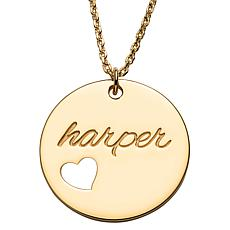 Gold Over Sterling Engraved Name Disc With Heart Necklace
