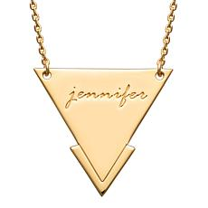 Gold Over Sterling Engraved Name Triangle Necklace