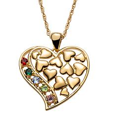 Gold Over Sterling Family Floating Hearts Birthstone Pendant