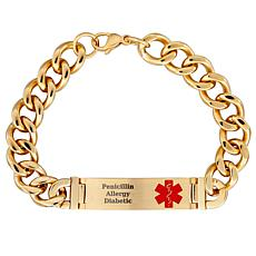 Gold-Tone Stainless Steel Engraved Medical Alert ID Bracelet