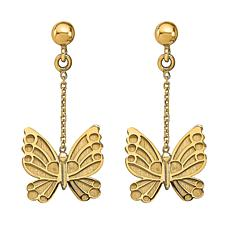Golden Treasures 14K Butterfly Dangle Earrings